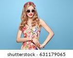fashion beauty woman in summer... | Shutterstock . vector #631179065