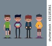 geek  nerd and smart hipster... | Shutterstock .eps vector #631181861