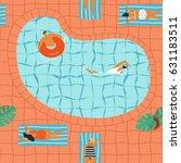 girls in bikini sunbathing and... | Shutterstock .eps vector #631183511
