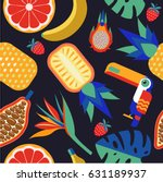 seamless tropical pattern....   Shutterstock .eps vector #631189937