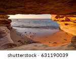view on a sandy seashore from a ... | Shutterstock . vector #631190039