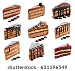 collection of various chocolate ... | Shutterstock . vector #631196549