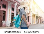 young asian traveling blogger... | Shutterstock . vector #631205891