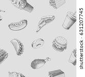 fastfood seamless pattern. hand ... | Shutterstock .eps vector #631207745