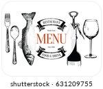 restaurant menu design. vector... | Shutterstock .eps vector #631209755