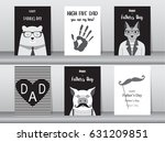 set of happy father's day card  ... | Shutterstock .eps vector #631209851