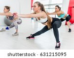 fit young girls doing side... | Shutterstock . vector #631215095