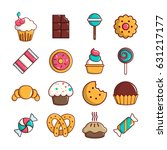 sweets candy cakes icons set.... | Shutterstock .eps vector #631217177