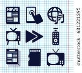 set of 9 media filled icons... | Shutterstock .eps vector #631221395