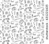seamless pattern hand drawn... | Shutterstock .eps vector #631221635