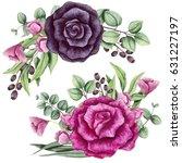 Set Of Watercolor Bouquets Wit...