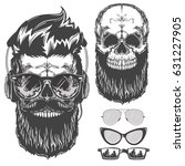 set of different skull and... | Shutterstock .eps vector #631227905