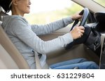 one young woman driver driving... | Shutterstock . vector #631229804
