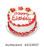 Birthday Cake With White And...