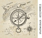 vector sketch of the compass on ... | Shutterstock .eps vector #631240811
