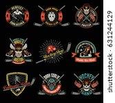 set of colored retro hockey... | Shutterstock . vector #631244129