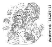 cute girl mermaid plait braids... | Shutterstock .eps vector #631259435