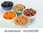 bowls with dried fruits and... | Shutterstock . vector #631262285
