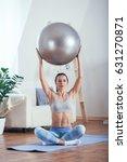 young sportswoman doing...   Shutterstock . vector #631270871
