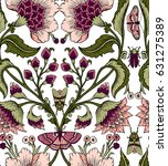 seamless pattern with fantasy... | Shutterstock .eps vector #631275389