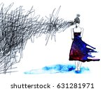 thoughtful girl  hand drawing... | Shutterstock . vector #631281971