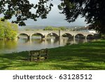 Bridge over the river Wye in Builth Wells, Wales UK. - stock photo