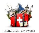 switzerland  retro suitcase... | Shutterstock . vector #631298861