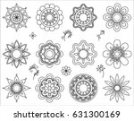 set of flower mono line icons.... | Shutterstock .eps vector #631300169