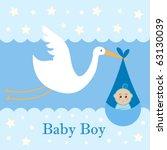 Baby Boy Card   A Stork...