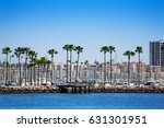 long beach cityscape with palms ... | Shutterstock . vector #631301951