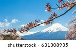 mountain fuji and cherry... | Shutterstock . vector #631308935
