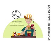 a happy  man eating hamburger...   Shutterstock .eps vector #631310705