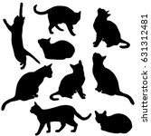 Stock vector set vector silhouette of the cat different poses black color isolated on white background 631312481