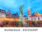 Small photo of old town with the Justitia statue in Frankfurt, Germany