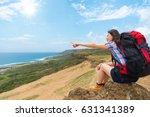 hiker pointing gestures to sun...   Shutterstock . vector #631341389