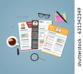 cv set in flat style with... | Shutterstock .eps vector #631342349