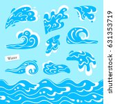 set of isolated sea or ocean... | Shutterstock .eps vector #631353719