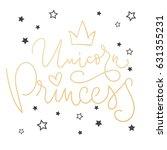 unicorn princess vector poster...   Shutterstock .eps vector #631355231