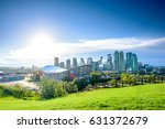 Beautiful Calgary city skyline from scotsman's hill on a sunny day, Canada