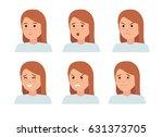set of female facial emotions....   Shutterstock .eps vector #631373705