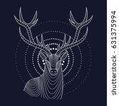 deer  horns  portrait  lines ... | Shutterstock .eps vector #631375994