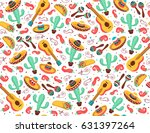 viva mexico seamless pattern.... | Shutterstock .eps vector #631397264