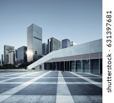 empty brick road nearby office... | Shutterstock . vector #631397681
