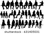 collection of silhouettes of... | Shutterstock .eps vector #631405031