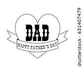 Fathers Day Black Outline Hear...