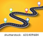 3d winding road on a colorful... | Shutterstock . vector #631409684