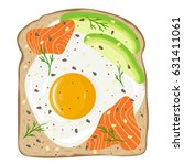 egg  avocado and salmon toast.... | Shutterstock .eps vector #631411061