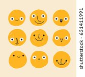 set of hand drawn emoticons  ... | Shutterstock .eps vector #631411991
