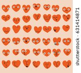set of hand drawn heart... | Shutterstock .eps vector #631414871