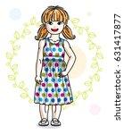 happy little redhead girl... | Shutterstock .eps vector #631417877